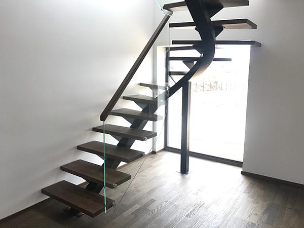 Metalltalaga trepp tammest astmetega-klaaspiire